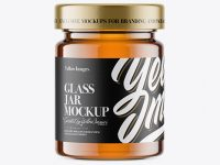 Glass Jar w/ Honey Mockup