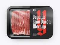 Plastic Tray With Raw Bacon Mockup