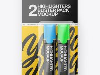 Blister Pack of 2 Highlighters Mockup