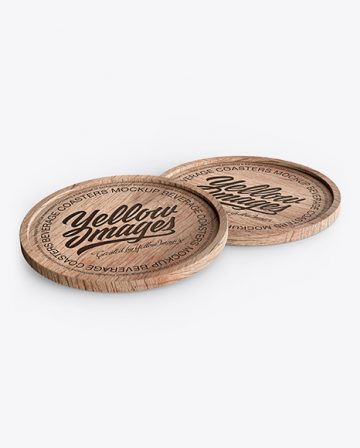 Two Wooden Beverage Coasters Mockup