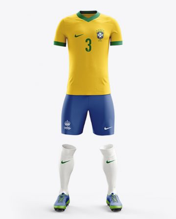 Football Kit with V-Neck T-Shirt Mockup / Front View
