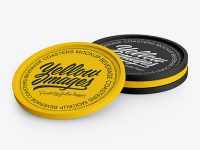 Four Textured Beverage Coasters Mockup
