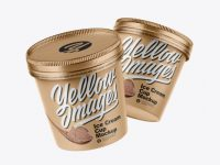 Two Kraft Ice Cream Cups Mockup
