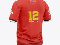 Men's Soccer Henley Collar Jersey Mockup - Back Half-Side View