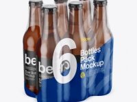 6 Bottles Pack in Film Mockup