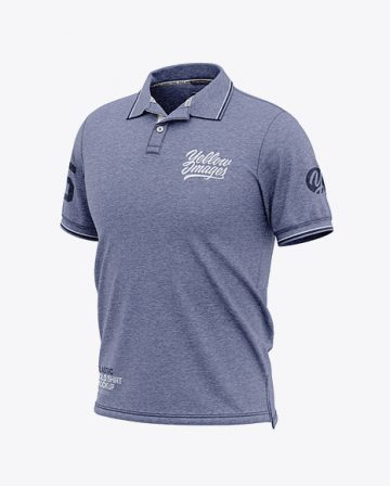 Men's Heather Short Sleeve Polo Shirt - Front Half Side View