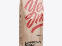 500g Kraft Coffee Bag Mockup - Half Side View