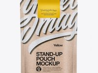 Kraft Stand Up Pouch w/ Label Mockup