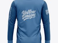 Men's Soccer V-Neck Jersey LS Mockup - Back View