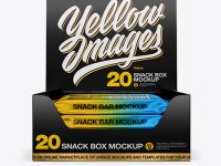 20 Snack Bars Glossy Box Mockup