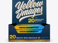 20 Snack Bars Textured Box Mockup