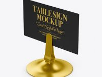 Table Sign W/ Metallic Holder Mockup