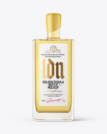 Square Golden Tequila Bottle with Wax Mockup