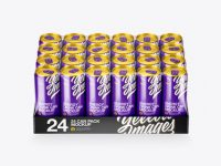Transparent Pack with 24 Glossy Aluminium Cans Mockup