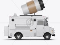 Foodtruck with Coffee Cup Mockup - Side View