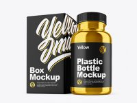 Metallic Pills Bottle with Box Mockup