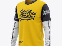 Men's Double-Layer Long Sleeve Knit T-Shirt Mockup - Front Half Side View