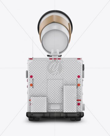 Foodtruck with Coffee Cup Mockup - Back View