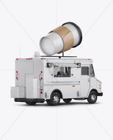 Foodtruck with Coffee Cup Mockup - Back Half Side View