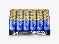 Transparent Pack with 24 Matte Aluminium Cans Mockup