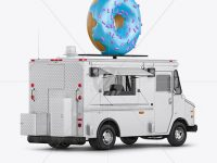Foodtruck with Donut Mockup - Back Half Side View