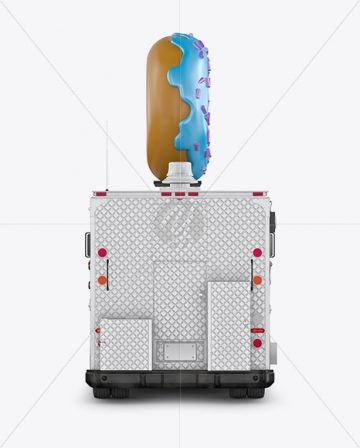 Foodtruck with Donut Mockup - Back View
