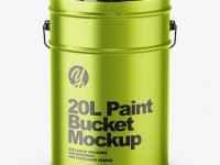 20L Metallic Paint Bucket Mockup