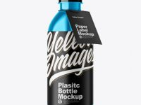 Metallic Plastic Bottle w/ Label Mockup