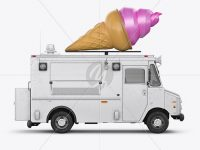 Ice Cream Food Truck Mockup - Side View