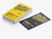 Stack of Textured Business Cards Mockup