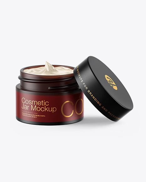 Opened Dark Frosted Amber Glass Cosmetic Jar Mockup