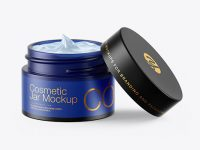 Opened Dark Frosted Blue Glass Cosmetic Jar Mockup