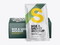 Matte Sachet with Box Mockup - Front View
