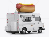 Hot Dog Truck Mockup - Back Half Side View