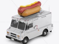 Hot Dog Truck Mockup - Half Side View (High-Angle Shot)