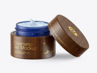 Opened Blue Frosted Glass Cosmetic Jar in Wooden Shell Mockup