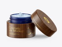 Opened Dark Blue Frosted Glass Cosmetic Jar in Wooden Shell Mockup