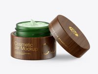 Opened Green Frosted Glass Cosmetic Jar in Wooden Shell Mockup
