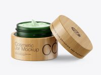 Opened Dark Green Frosted Glass Cosmetic Jar in Wooden Shell Mockup