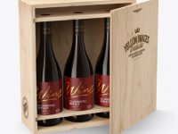 Wooden Box with Red Wine Amber Bottles Mockup
