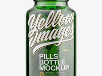 Green Glass Bottle With Pills Mockup