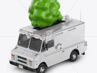 Vegan Food Truck Mockup - Half Side View (High-Angle Shot)