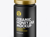 Matte Ceramic Honey Jar Mockup