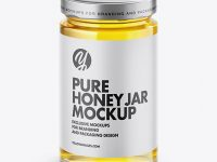 Clear Glass Pure Honey Jar Mockup