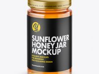 Clear Glass Sunflower Honey Jar Mockup