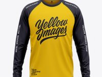 Men's Raglan Long Sleeve T-Shirt Mockup - Front View