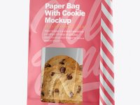 Paper Bag with Cookie Mockup