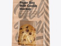 Kraft Bag with Cookie Mockup