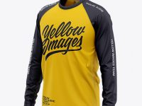 Men's Raglan Long Sleeve T-Shirt Mockup - Front Half Side View