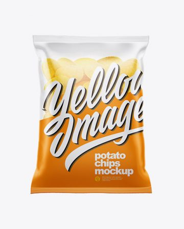 Clear Bag With Potato Chips Mockup